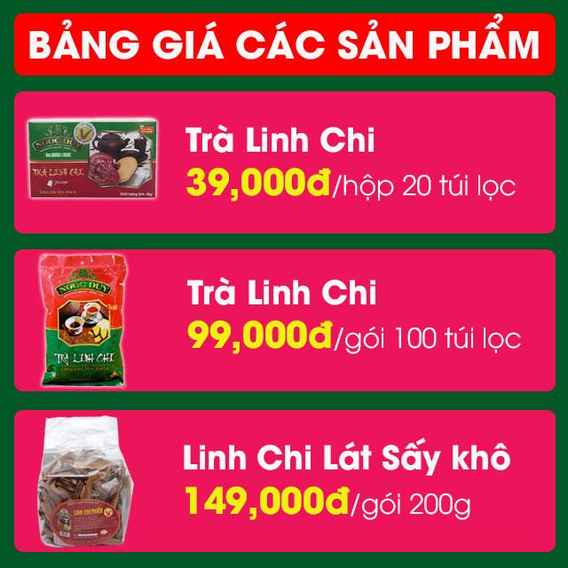 Bảng giá Trà Linh Chi
