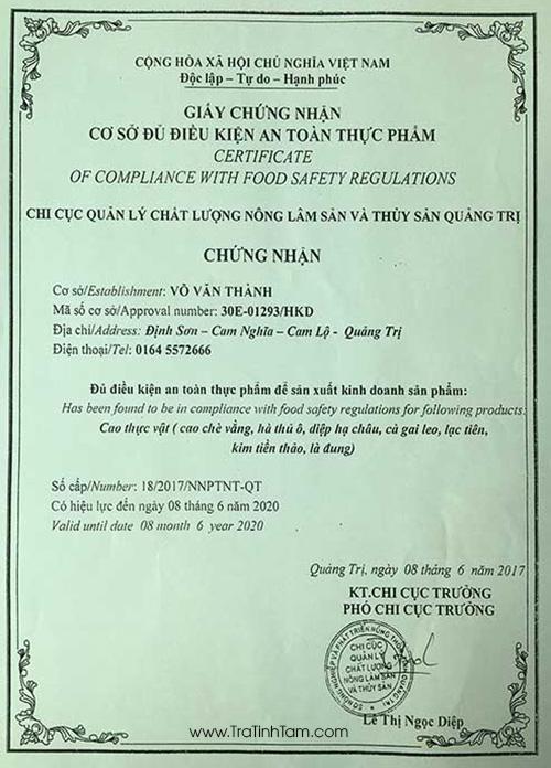 Giấy chứng nhận CSSX Lê Thị Mịch